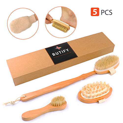 Dry Skin Brushing Body Brush Kit, 5-in-1 Natural Boar Bristles Shower and Bath Exfoliating Scrubber - Detachable Long Handle, Face Brush, Foot File, Cellulite Massager