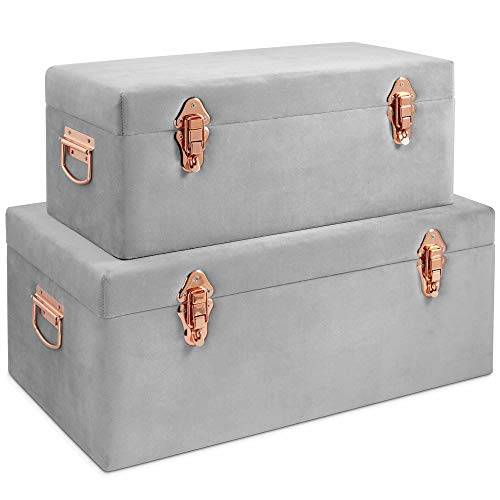Beautify Gray Velvet Decorative Storage Trunk Set with Rose Gold Clasps - College Dorm and Bedroom Footlocker Trunks ()
