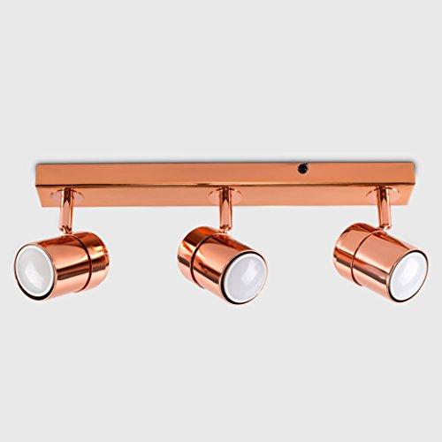 low priced fca3d 06ebd Modern 3 Way Copper Effect Straight Bar Ceiling Spotlight