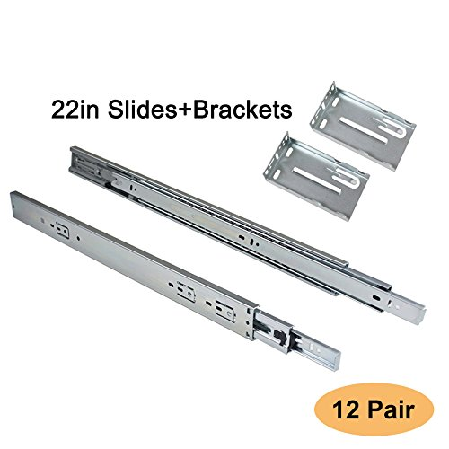 Gobrico 22-Inch Soft Close Drawer Slides 3-fold Telescopic Full Extension Ball Bearing Rear Mount Drawer Slides with Brackets, 12Pair (Richelieu Full Extension Soft Close Drawer Slide)