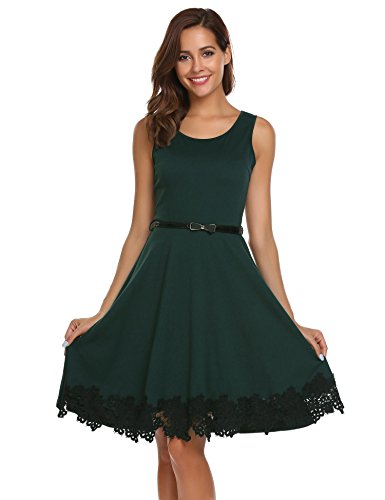 Zeagoo Women Sleeveless Belt Fit and Flare Lace Cocktail Dress Dark Green XL (Lace Belted Belt)