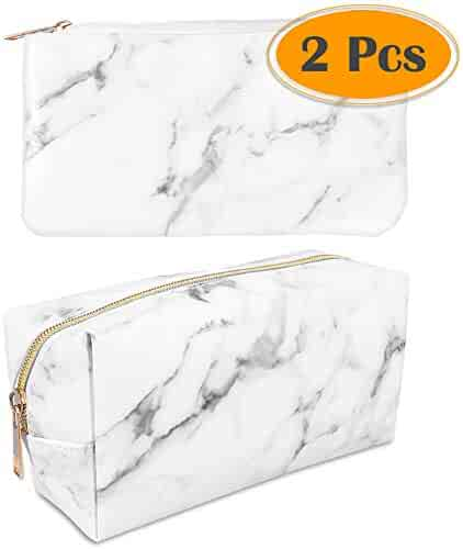 anezus 2Pcs Marble Cosmetic Toiletry Makeup Bag Travel Brush Storage Pouch with Gold Zipper