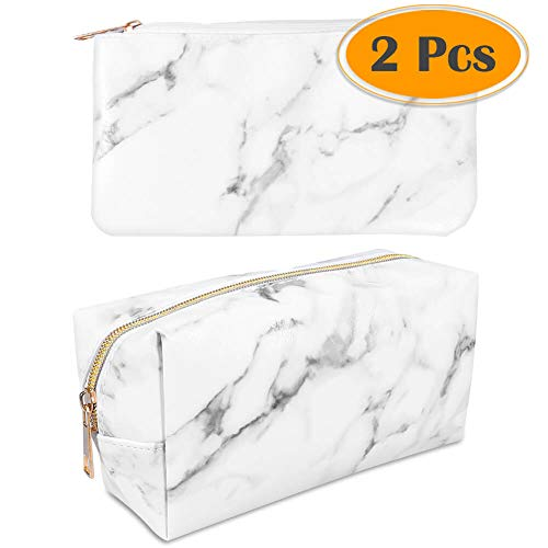 anezus 2Pcs Marble Cosmetic Toiletry Makeup Bag Travel Brush Storage Pouch with Gold Zipper ()