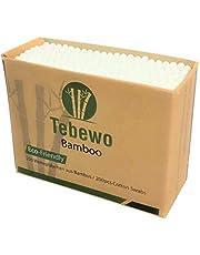 Tebewo Bamboe | wattenstaafjes van bamboe en katoen | 100% biologisch afbreekbaar | composteerbaar | milieuvriendelijke premium wattenstaafjes