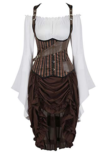 Zhitunemi Women Steampunk Corset Dress Medieval Peasant Chemise Costume Victorian Saloon Girl Dresses Brown Large -