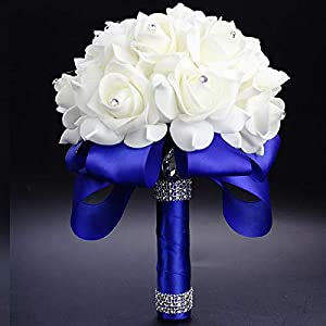 Elegant Royal Blue Purple Red Fuchsia Rose Artificial Bridal Flowers Bride Bouquet Wedding Bouquet Crystal Silk Ribbon 10