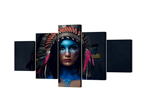 - 5 Piece Canvas Wall Art Painting - Native American Indian Women - Modern Home Decor Stretched and Framed Ready to Hang - 60''W x 32''H