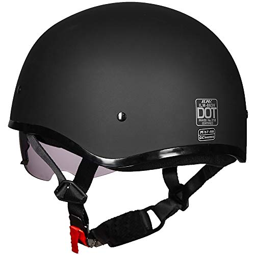 ILM Motorcycle half Helmet with Sunshield Quick Release Strap Half Face Fit for Bike Cruiser Scooter Harley DOT Approved (L, Matte Black)