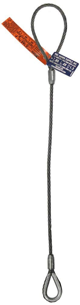 HSI 1/2'' Diameter Single-Leg Wire Rope Sling | EIPS 6x25 IWRC | 10' Length | Flemish Eye Loop to Heavy-Duty Thimble | 2.5 Ton Vertical Rated Capacity