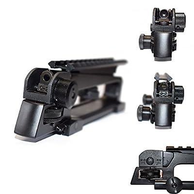 Feyachi Dual Aperture Picatinny Rail mount + Adjustment A2 Iron Rear Sight can Detachable / Combo