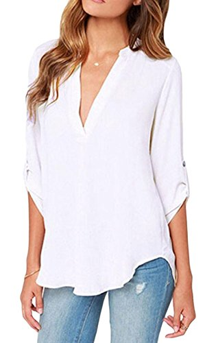 Elady Sexy Loose Fitting Chiffon Blouse Top For Women V Neck Shirt White (L)