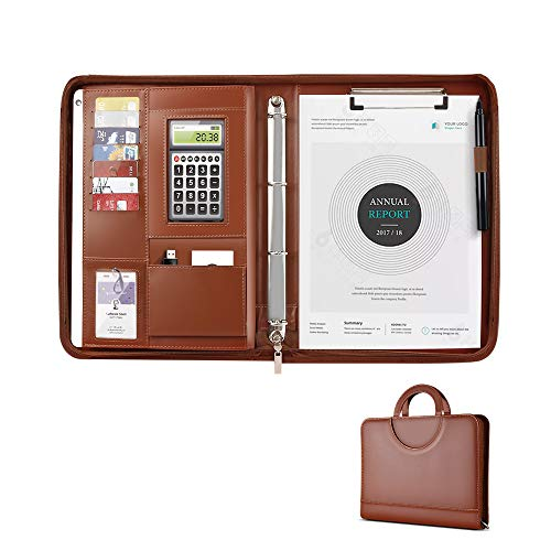 adfolio ATAILORBIRD Zippered Document Resume Organizer Briefcase with 4 Ring Binder and Writing Pad, Brown ()