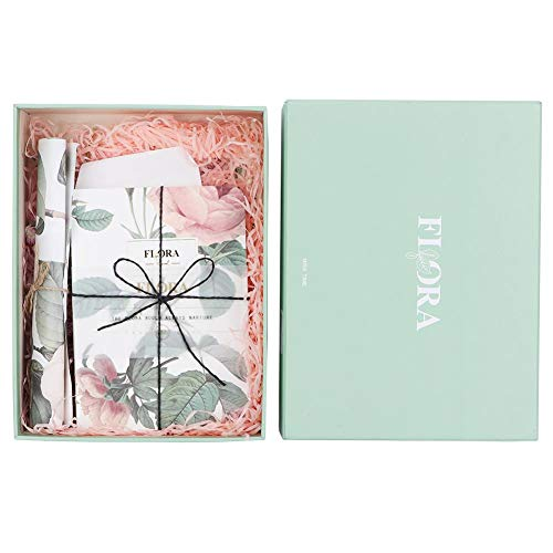 Journal Notepad Kit with Vintage Flower Gift Set Travel Notebook Diary Personalized Notebook (Gift -