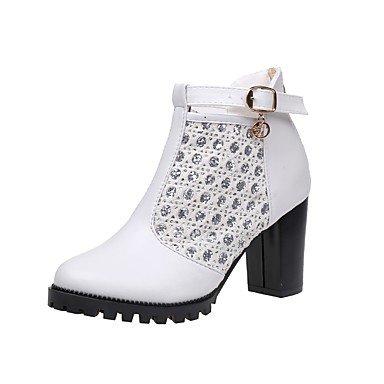 GLL&xuezi Damen Schuhe PU Herbst Modische Stiefel Stiefel Blockabsatz Runde Zehe Mit Für Kleid Party & Festivität Weiß Schwarz white
