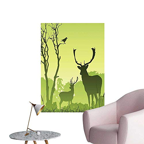 Wall Decals Male Deer On A Meadow with Trees and Crow Bird W