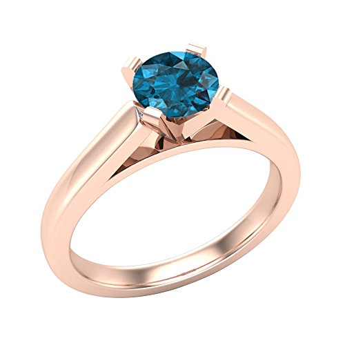 3/4 ct tw Blue Diamond Round Cut Diamond Engagement Ring Cathedral Style Solitaire Shank Comfort Fit 14K Rose Gold 3/4 Carat Round Cut Cathedral