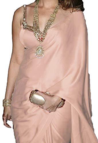(Gorgeous & Elegant Satin Georgette Silk Sari Saree Blouse Material Included (Peach Light))