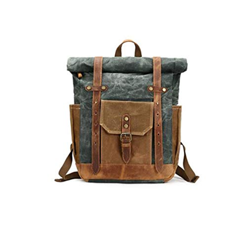 (YANJINGHONG Waxed Canvas Backpack for Men Vintage 15.6 Laptop Bookbag Leather Rucksack for Travel Large Waterproof Travel)