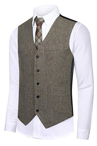 CMDC Men's Vest Slim fit Tweed Waistcoat V-Neck Herringbone Wool Stripe Suit Vest ()