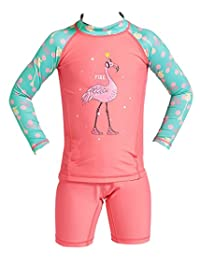 DIVE&SAIL Girls Long Sleeve Rashguard with Shorts Set 2-Piece Swimwear 4-9Y