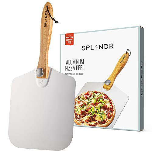 SPLENDR Aluminum Metal Pizza Peel with Foldable Wood Handle 12 Inch x 14 Inch Great Gift for Homemade Pizza Lovers. Easy Storage Pizza Paddle for Baking Bread (Batali Pizza Mario)
