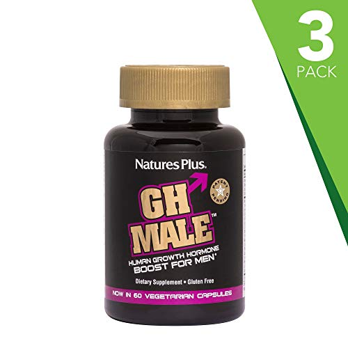 Natures Plus GH Male (3 Pack) - 60 Vegetarian Capsules - HGH Boost for Men, Amino Acid & Energy Supplement, Improves Focus, Memory & Mood, Antioxidant- Gluten Free - 30 Servings