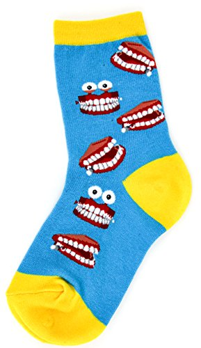 Foot Traffic - Chatty Teeth Socks for Kids, Cute, Quirky & Comfortable, Blue & Yellow (Kids Shoe Sizes 10-1Y, Ages 4-7)