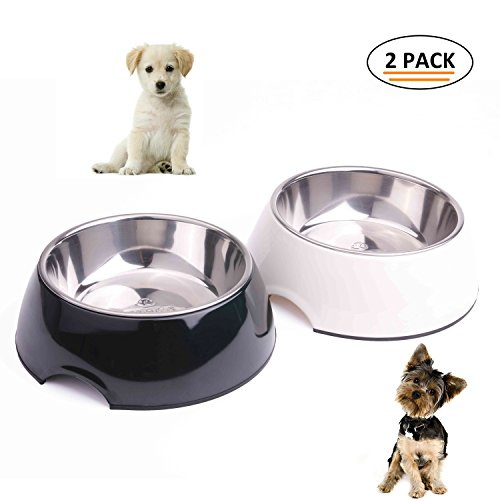 Bowl Dog Melamine (Super Design Black & White Set Classic Removable Stainless Steel in Melamine Stand Non-Skid Food Water Bowls for Dogs and Cats X-Large)