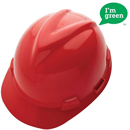 MSA 10150223 Green High-Density Polyethylene V-Gard Cap with 4 Point Fas Trac III Ratchet Suspension, Red