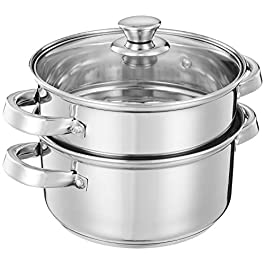 Amazon Brand – Solimo Stainless Steel Induction Bottom Steamer/Modak/Momo Maker with Glass Lid (2 litres)