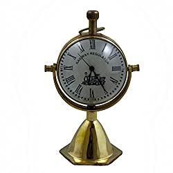 Antique Retro Vintage Decorative Round Metal Railway Regulator Table Desk Clock, 4.3 Inches