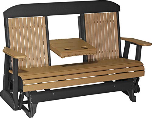 - Furniture Barn USA Outdoor 5 Foot High Back Glider - Cedar and Black Poly Lumber - Recycled Plastic