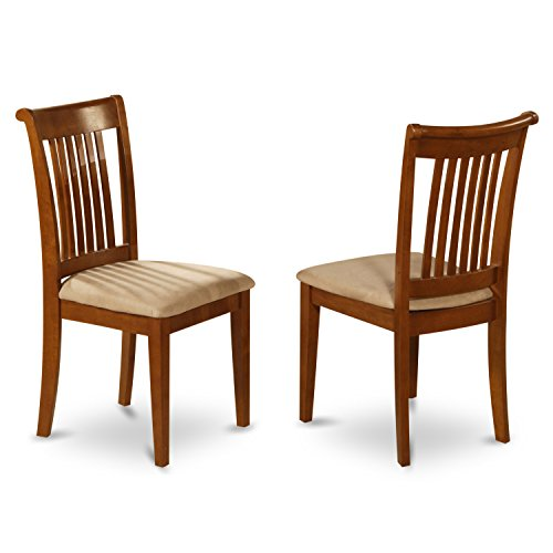 East West Furniture POC-SBR-C Slat Back Chair Set for Kitchen with Upholstered Seat, Set of 2 Color Slat Back Chair