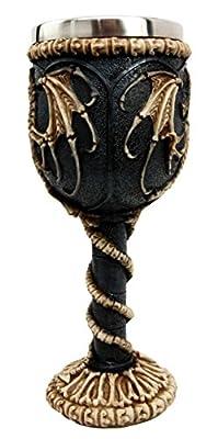 Bellaa 22487 Medieval Dragon Skeleton Ossuary Goblet Wine Chalice Resin Body Stainless Steel