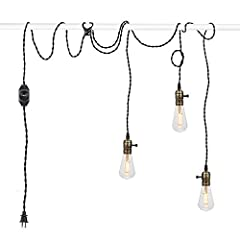 Product Overview This hanging light cords are composed of three copper-colored vintage lamp sockets, 25-foot twisted bulb cord and UL-listed dimmable switch. With its US standard plug, it is easy to create a plug in hanging lamp without drill...