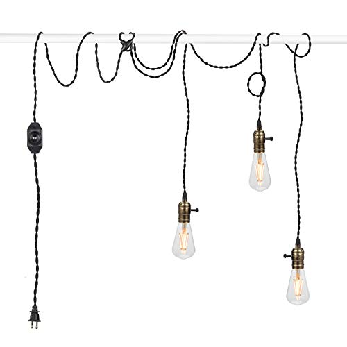 Vintage Pendant Light Kit Cord with Dimming Switch and Triple E26/E27 Industrial Light Socket Lamp Holder 25FT Twisted Black Cloth Bulb Cord Plug in Hanging Light Fixture -