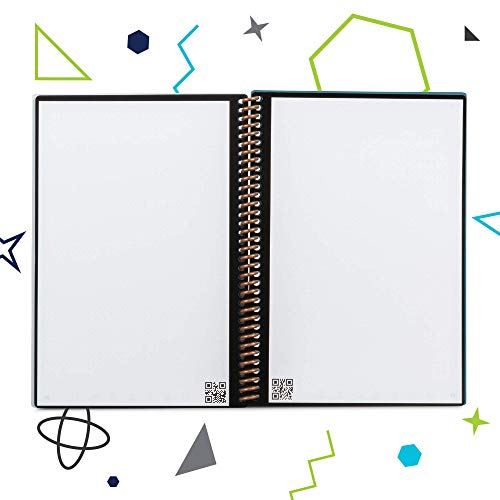 "Rocketbook Everlast Smart Reusable Notebook - Dotted Grid Eco-Friendly Notebook with 1 Pilot Frixion Pen & 1 Microfiber Cloth Included - Infinity Black Cover, Executive Size (6"" x 8.8"")"