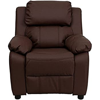 Flash Furniture Deluxe Padded Contemporary Brown Leather Kids Recliner With  Storage Arms