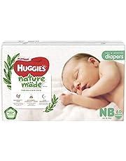 HUGGIES Platinum Naturemade Tape Diapers NB 60s, 180 count (Pack of 3)
