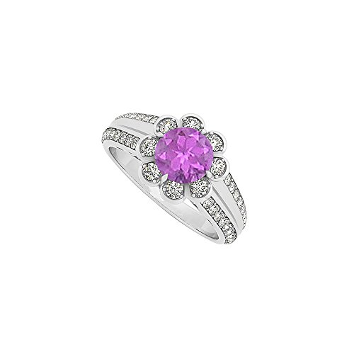 Amethyst and Cubic Zirconia Fashion Floral Ring in 14K White Gold 1.50 CT TGW
