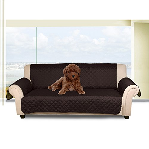 Auralum Reversible Quilted Sofa Furniture Protector for Kids Pets Couch Cover Waterproof Anti Slip Cover with Strap ,66' x 65',Sofa, Chocolate/Beige.