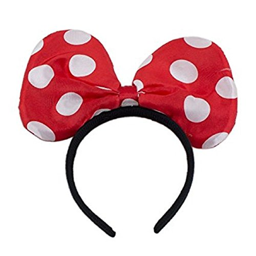 LED Light Up Jumbo Polka Dot Bow Headband Red