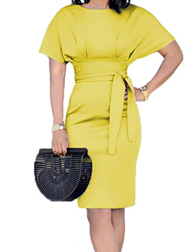 - Women's Casual Pencil Dress Belt Elegant Short Sleeve Dress Wear to Work (Yellow, M)