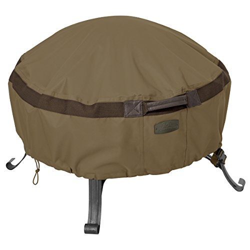 Classic Accessories Hickory Heavy Duty Full Coverage Round Fire Pit Cover - Durable and Water Resistant Patio Cover, Small (55-632-240101-EC) (Fire Pit Covers Round)