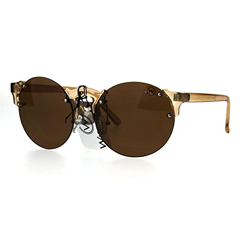 Mens Hipster Nerdy Retro Clear Circle Round Lens Funky Sunglasses - Nerdy Glasses Guy