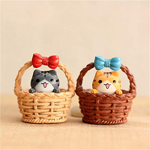 2Pcs Cute Resin Crafts Decorations Miniature Cradle Cat Fairy Party Garden Birthday Gift Random 2pc random -