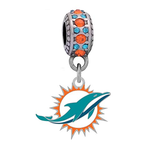Final Touch Gifts Miami Dolphins Logo Charm Fits European Style Large Hole Bead (Miami Dolphins Logo Charm)