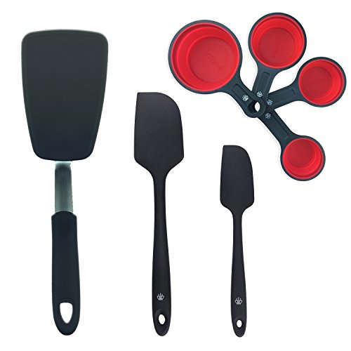 Series 1 Kitchen Utensil Set (7 Piece Set) Flex Seamless Silicone Turner Spatula Collapsible Measuring Cups Non-Stick Silicone Spatula Set Reinforced Stainless Steel Core BPA Free 600ºF Heat-Resistant (Measuring Spatulas)