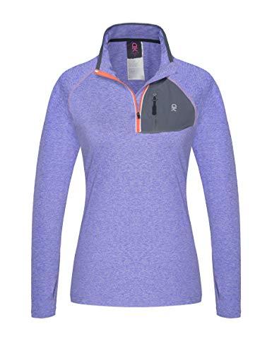 Little Donkey Andy Women's Half Zip Stand-Collar Long Sleeve Running Top Purple Heather L - Long Sleeve Half Zip Top