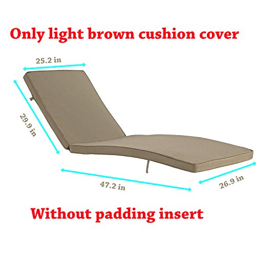 Do4U Adjustable Patio Furniture Rattan Wicker Chaise Lounge Chair Sofa Couch Bed With Cushion Outdoor (1 Pcs Light brown cushion cover) by Do4U